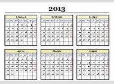 Calendario 2013 da stampare scaricare gratis annuale in PDF
