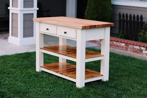 Narrow White Kitchen Island Cart With Butcher Block Top
