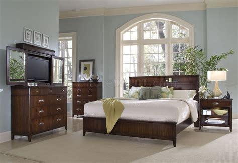 rich walnut finish contemporary bedroom woptional casegoods
