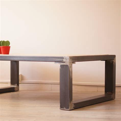 table de salon en bois table basse en fer bois style design industriel