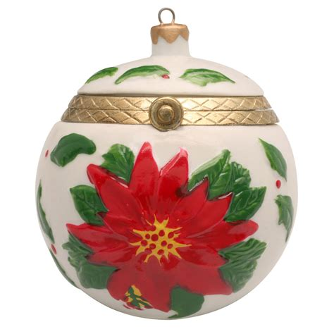 porcelain surprise christmas ornament box poinsettia