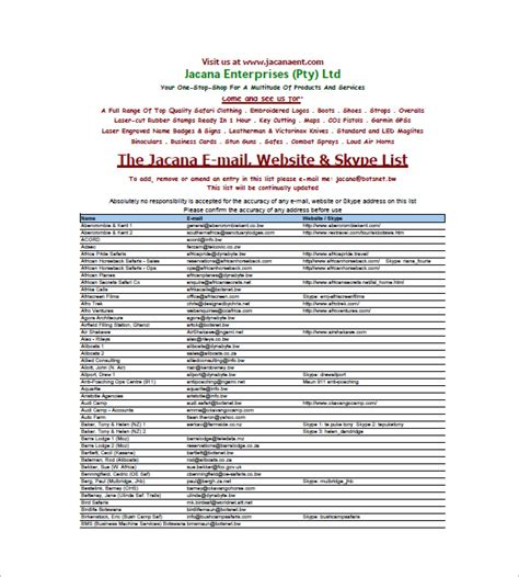 Email List Template  10+ Free Sample, Example, Format. Esthetician Schools In Georgia. Cheap Central Air Conditioning Units. Michigan Social Services Help With Drug Abuse. Discount Cell Phone Companies. Real Estate Lawyer Brampton Fix Slow Drain. West Jeff Medical Center Direct Merchant Bank. Aluminum Can Manufacturing Process. Cheap Flights To Sydney From Melbourne
