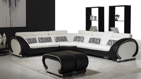 canape angle noir blanc