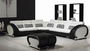 Canapé Blanc Design : vente canape angle design okyo blanc noir mobiliermoss ~ Teatrodelosmanantiales.com Idées de Décoration