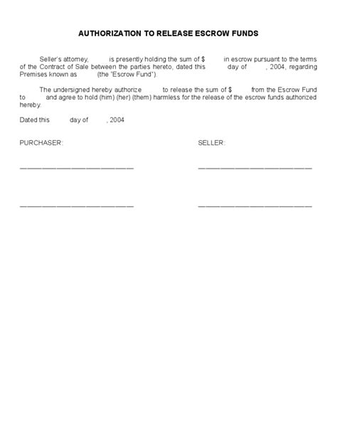 authorization  release escrow funds