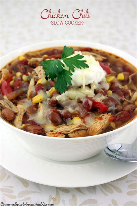 crockpot chicken chili slow cooker shredded chicken chili cinnamon spice everything nice