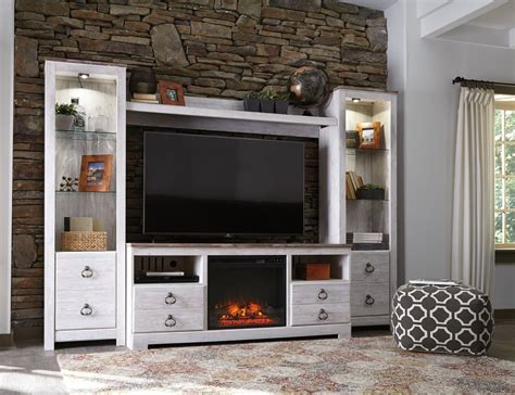 willowton tv stand  fireplace ashley furniture