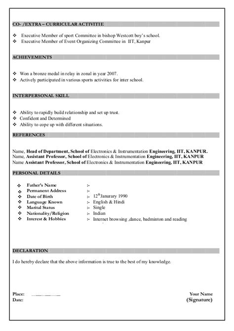 Fresher School Resume Format India by Resume Format For Freshers
