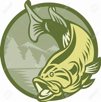 Bass Fish Clipart Largemouth Jumping River Fishing