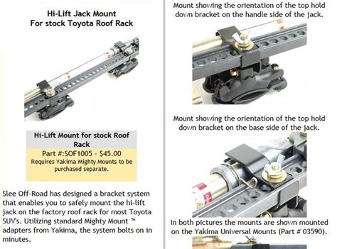 Slee Bracket by Wtb Slee Offroad High Lift Roof Mount Brackets Toyota