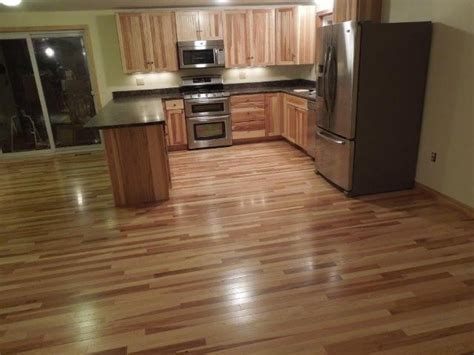 hickory hardwood flooring kitchen contemporary with