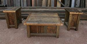 reclaimed barnwood rustic coffee end table set With rustic wood coffee table set