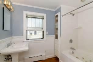 cottage bathroom with wainscoting drop in bathtub - Beachy Bathrooms Ideas