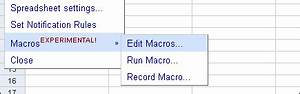 google spreadsheets macros and list mode With google docs spreadsheet macros
