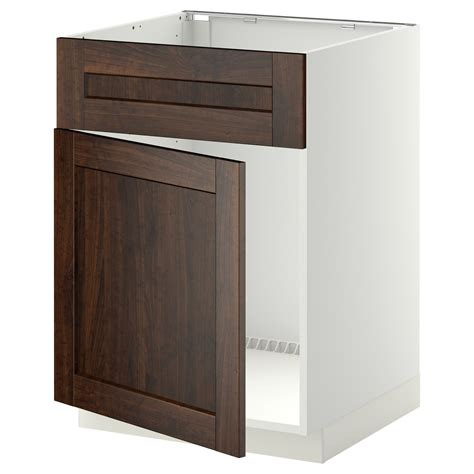 metod base cabinet f sink w door front white edserum brown
