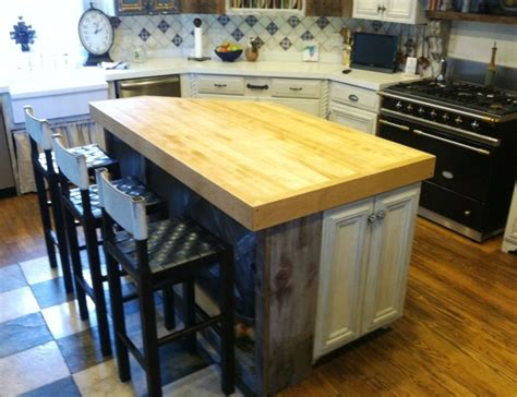 hand crafted angled butcher block island top    park