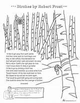 Frost Robert Poem Birches Coloring Poems Poetry Printable Tweetspeakpoetry Analysis Template Poet sketch template