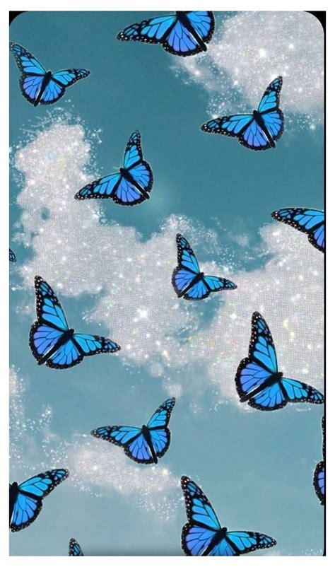 blue glitter butterfly baby blue aesthetic butterfly