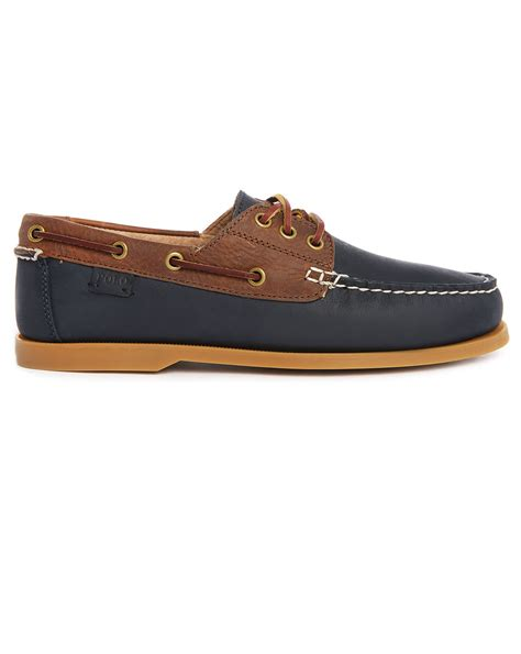 Navy Polo Boat Shoes by Polo Ralph Brown Navy Leather Boat Shoes In Brown