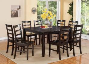 9 Dining Room Set 9 Pc Square Dinette Dining Room Table Set And 8 Wood Seat Chairs In Cappuccino Ebay