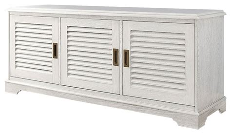 louvered door tv console white wash transitional