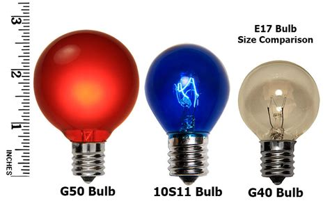 light g40 size comparrison e17 patio and light bulbs