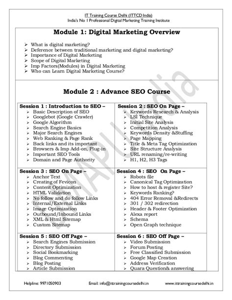 Seo And Digital Marketing Course by Advance Certified Digital Marketing Course Syllabus Pdf