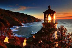 Oregon Coast Sea Lighthouse Sunset Landscape Ocean Sunrise ...
