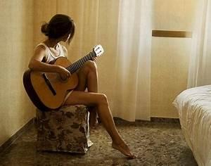 brunette, floral, gazing, girl, guitar, love - image ...
