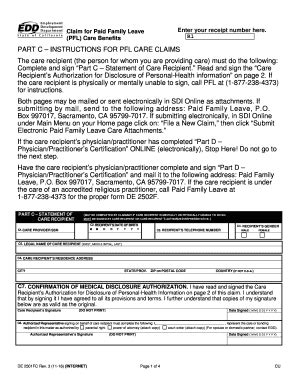 paid family leave claim form 2012 form ca de 2501fc fill online printable fillable