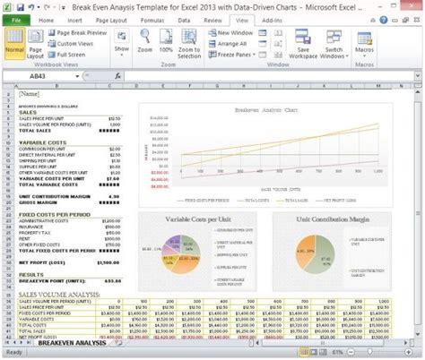 break  analysis template  excel   data