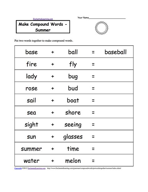 Spelling Worksheets Summer K3 Theme Page At Enchantedlearningcom