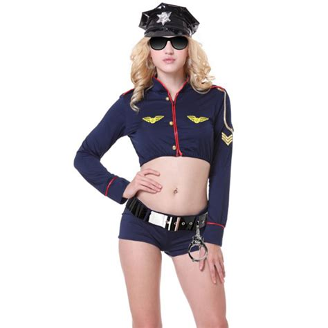 Sexy Policewoman Uniform Adult Crop Top And Shorts Set Cop Cosplay Costume N