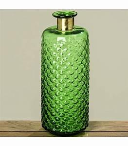 Vase En Verre Haut : vase haute design en verre vert et laiton dor hauteur 39cm ~ Nature-et-papiers.com Idées de Décoration
