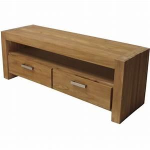 Meuble à Tiroir : meuble tv 2 tiroirs teck bross ~ Melissatoandfro.com Idées de Décoration