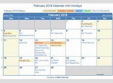 Print Friendly February 2018 US Calendar for printing