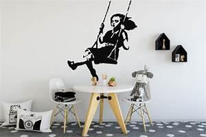 Banksy Girl Swing Wall Sticker Banksy Girl Stencil Wall