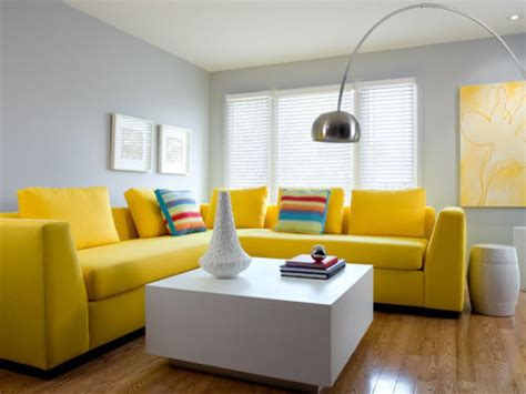 grey living room  yellow sofa