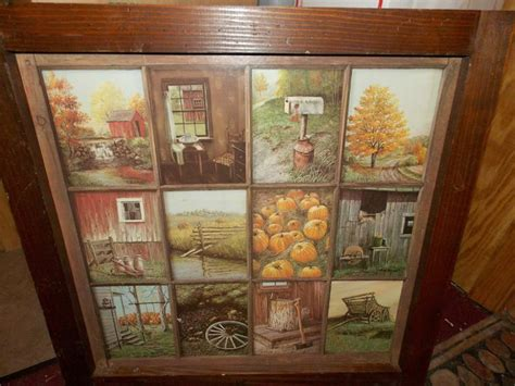 Vintage Homco Home Interior Window Pane Picture Rustic