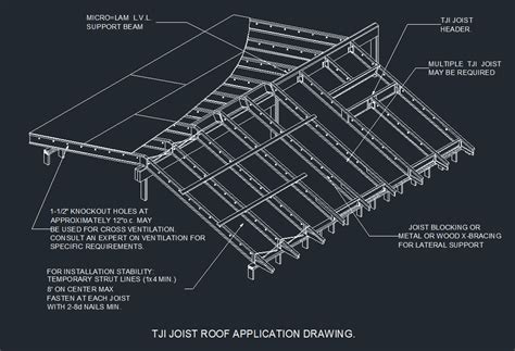 tji floor joist details wood tji roof joist installation graphic cad files dwg