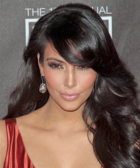 kim kardashian long wavy formal hairstyle  side swept
