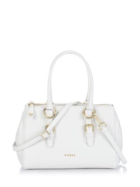 Guess Jordyn Satchel White guess jacqueline box satchel bag in white lyst