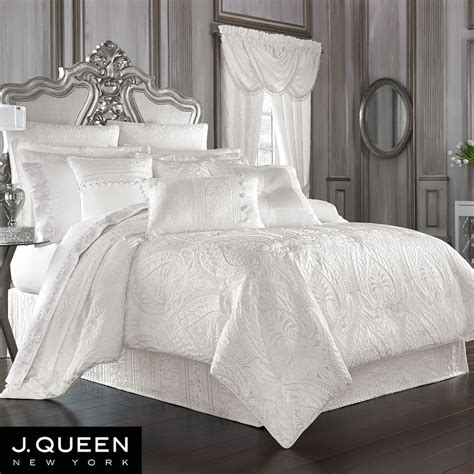 bianco puff jacquard solid white comforter bedding