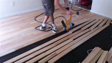 installing a wooden floor how to install nail down unfinished hardwood floors youtube