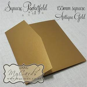 antique gold metallic pocketfold 155mm square mycards With wedding invitation pockets nz