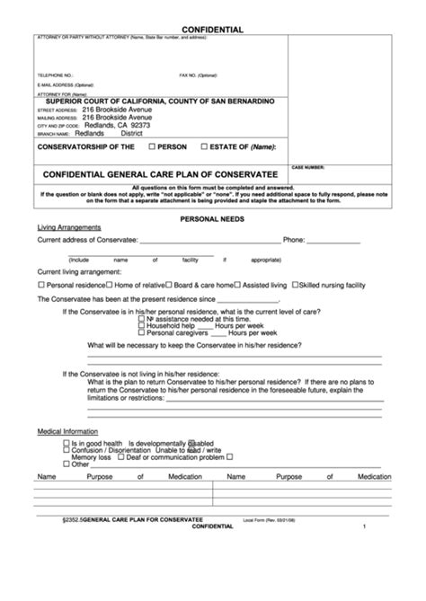 confidential general care plan  conservatee form