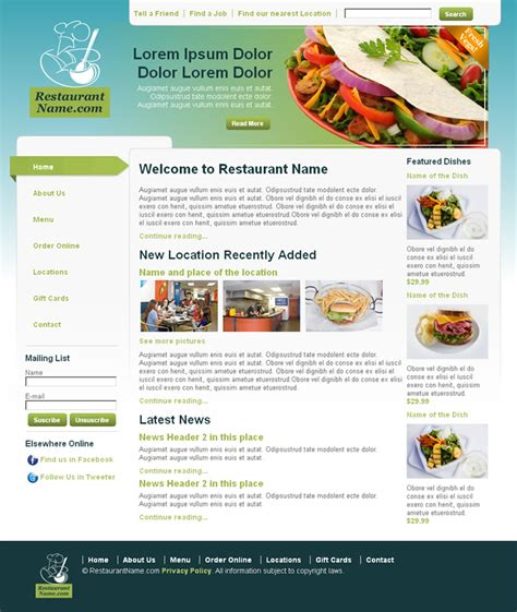 Dreamweaver Newsletter Templates by Restaurant Dreamweaver Templates