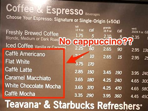 starbucks light menu starbucks cappuccino the menu business insider