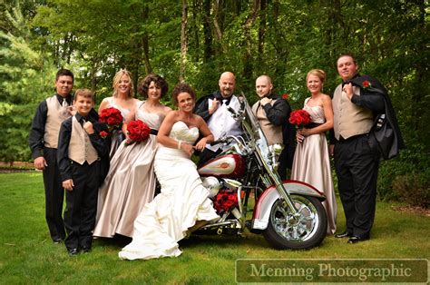 Harley Davidson With Bridal Party Menningphotographic