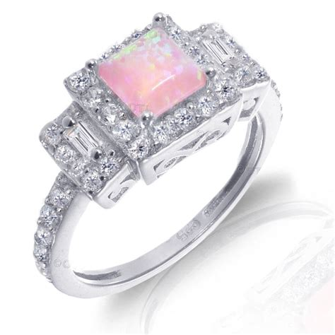 white gold princess cut promise engagement pink fire opal cz silver ring ebay